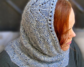 Knit Cowl Pattern:  Bead Knitted Cowl (Wimple) Knitting Pattern