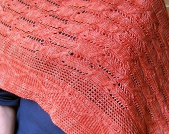 Knit Wrap Pattern:  Mesh and Cable Lace Sampler Shawl Knitting Pattern