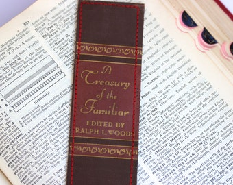 Book Spine BOOKMARK /// A Treasury of the Familiar  /// Teacher Gift