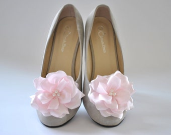 Pale Pink Shoe clips - Bridesmaids shoes / Bridal shoes / Prom shoes - Custom made Shoe Clips with over 50 colors to choose from