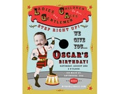 Carnival Circus Strongman Invitation - Printable & Personalized