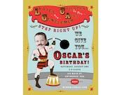 Carnival Circus Strongman Invitation - Printable & Personalized