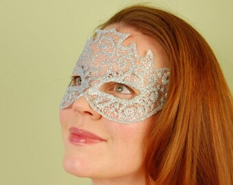 SHEER MASK- Sparkle Mesh- Silver- masquerade mask, Mardi Gras, ballroom, prom, fairy, Venetian, Halloween,tattoo