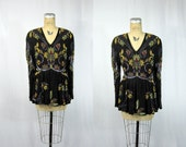 80s Gatsby Silk Sequin and Beaded Blouse . Art Deco Elegance Top. Large