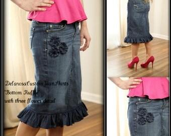 DELAROSA Beautiful Bottom Ruffle modest denim skirt w/three flower detail Custom size 2 4 6 8 10 12 14 16 18 20 22 24 26