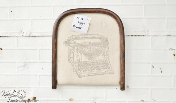 Antique Typewriter Bulletin Board - Repurposed Chair Seat Memo Board