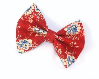 Hair Bow Vintage Inspired Red Flowers Hair Bow with Aligator Clip Rockabilly Pin up Teen Woman Alligator Clip, French Barrette