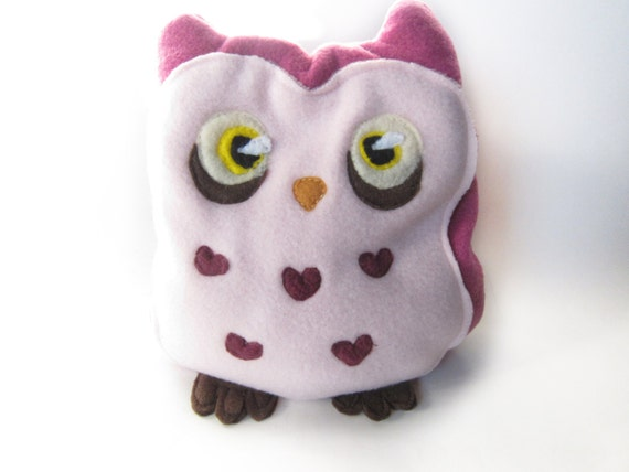 Valentine's Day Pink Owl with Heart-Shaped Tummy Feathers Heating Pad