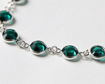 Emerald Bracelet, May Birthstone Jewelry, Emerald Green Jewelry, Crystal & Silver Linked, May Birthstone Bracelet