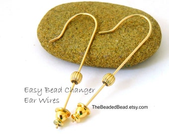 Changeable Earrings - Easy Bead Changer Ear Wires - gold filled