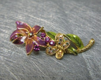 Hand Painted Gold Brooch with Butterfly and Swarovski Crystals