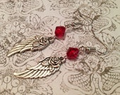 """Earrings - Handmade - Charming Style - Red Beads - Rose Angel Wing """"You Ought to See Her Fly"""""""
