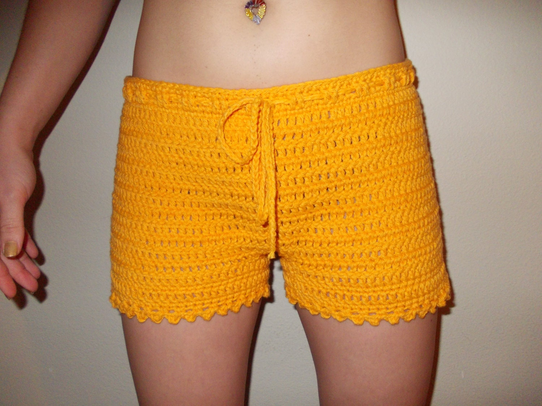Crochet Shorts : Items similar to Crochet Shorts - Women Crochet Boy Shorts - Size XS ...