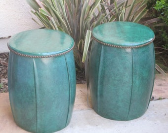 Vintage Retro Vinyl Mottled Green Drum Seats Or Footstools