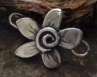 Sterling Silver Whimsy Flower Connector - Artisan Rustic Bracelet Focal Point for 2mm Cord AC170