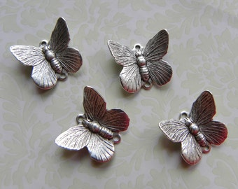 4 Butterfly Charms, Antique Silver Connector, Vintage Look, Beautiful Detail, 12mm x 16mm