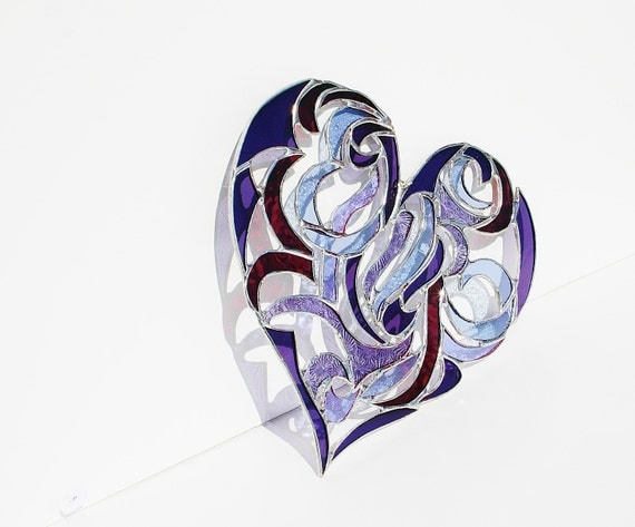 Stained Glass Heart Suncatcher Window Ornament Intricate Tribal Motif Valentines Day Mothers Day Wedding Gift Bride Groom Anniversary Gift