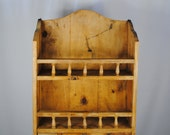 Antique Boho RUSTIC Wooden MEXICAN HACIENDA Wall Organizer with Shelves / Drawers