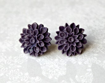 Mum Flower Earrings, Purple Handmade Resin Cabochons on Hypoallergenic Titanium Posts