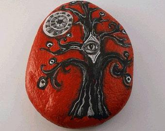 Third Eye Tree-Painted Stone, Art, Home Decor