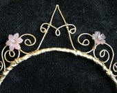 "Initial ""A"" Tiara - goldtone with pink flowers and crystals!"