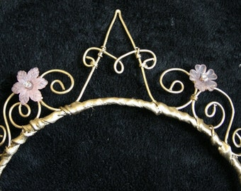 """Initial """"A"""" Tiara - goldtone with pink flowers and crystals!"""