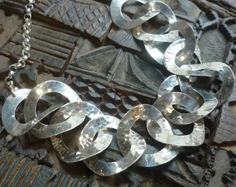 Sterling Silver Necklace, Big Silver Circles Necklace, Chunky Hammered Silver Necklace, Statement Silver Necklace, Chunky Silver Necklace.