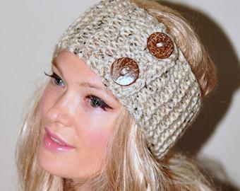 Earwarmer Buttons Head wrap Crochet Headband Ear warmer CHOOSE COLOR Oatmeal Beige Natural Warm Hair Band Button Gift under 50