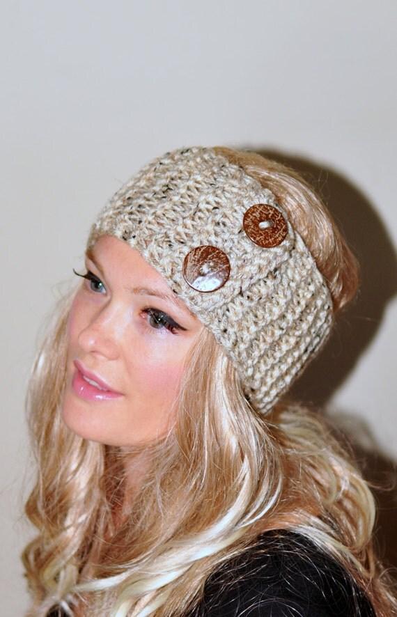 Earwarmer Buttons Head Wrap Crochet Headband Ear Warmer Choose