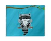 Raccoon Nursery Print - Raccoon Wall Art
