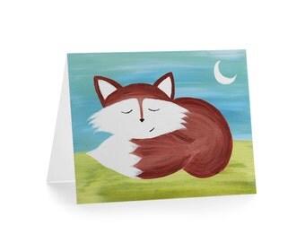 Sleepy Fox Blank Greeting Card & Envelope
