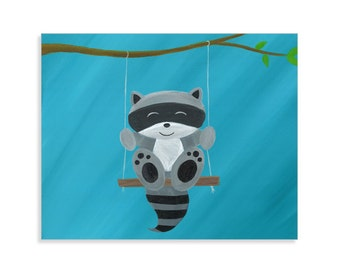 Raccoon Nursery Print - Raccoon Wall Art