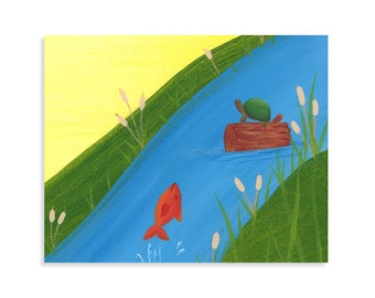 Turtle and Fish Nursery Print - Forest Wall Art