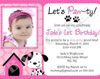 Puppy Birthday Invitation Puppy Party Invitation Puppy Pawty Photo Picture DIY Printable