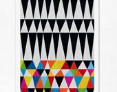 Triangles N.1. (colourful & black). Geometric large print (A3). (Special SPRING  offer: Get a  poster for free)