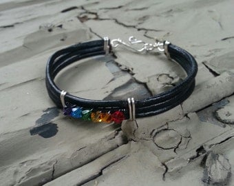 Black Leather Rainbow Pride Bracelet