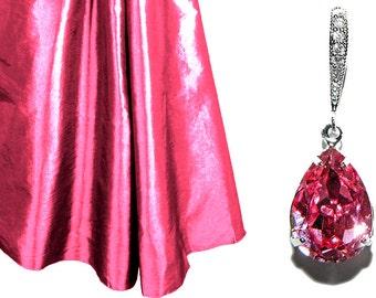Rose Pink Crystal Earrings Blush Pink Rhinestone Earrings Wedding Pink Earrings Swarovski Pink Teardrop Earrings Bridesmaid Earrings Bridal