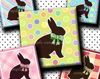 INSTANT DOWNLOAD Chocolate Easter Bunnies (584) 4x6 Digital Collage Sheet 1 inch square images for glass tiles resin pendants magnets