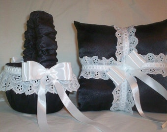 Black Satin With White Eyelet Ribboned Lace Trim  Flower Girl Basket And Ring Bearer Pillow Set 2