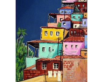 FAVELA PAINTING, Rio de Janeiro, Latin America,Bright Colors,Original illustration artist Print. Free Shipping in USA.