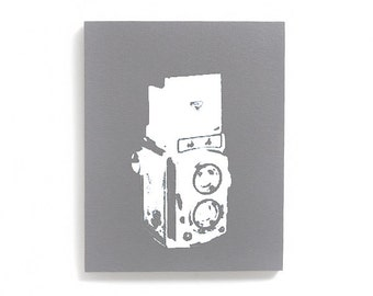 Baby Room Decor: Vintage Camera Wood Canvas Wall Art (8 x 10 inches, Gray with White) Screen Print & Painting, Old Fashion Camera