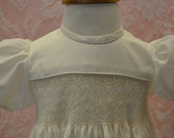 Smocked Organic Cotton Christening Gown