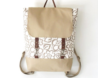 Beige blossom Backpack, laptop bag, school bag, diaper ag with leather closure and 2 front pockets, Design by BagyBags