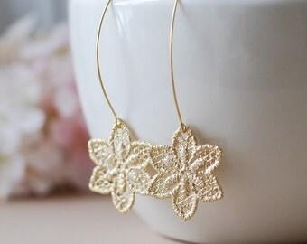 Gold Metal Lace Dangle Earrings Matte gold Flower Earrings Gold Filigree Earrings Drop Earrings Statement Earrings