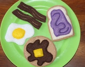Felt Play Food Breakfast Set - Toast, Pancake, Egg, and Bacon Strips - Stocking Stuffer