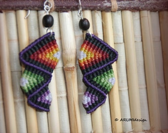 Cavandoli macrame DANGLE EARRINGS purple & red RAINBOW, colorful fiber earrings with silver hooks