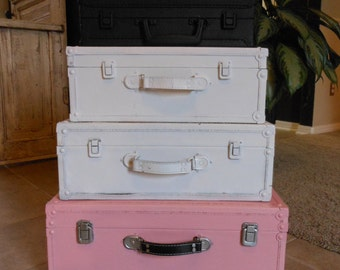 Suitcase Stack 24.6 inches tall as shown Ready to paint in your colors and ready to ship as shown too