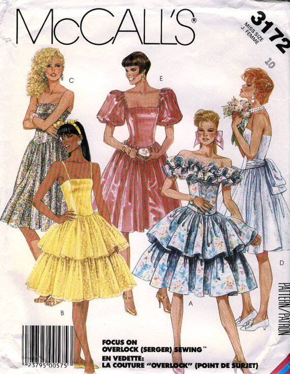 McCall's 3172 Vintage 80s Misses' Princess Prom Dress Sewing Pattern - Uncut - Size 10 - Bust 32.5