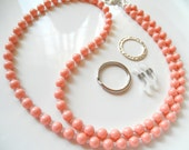 Pink Coral Swarovski Pearl Convertible Eyeglass Lanyard Chain Necklace - Variety of Colors Available - Reading Glasses Chain - Pink Lanyard