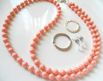 Pink Coral Swarovski Pearl Convertible Eyeglass Lanyard Chain Necklace - Variety of Colors Available - Glasses Chain - Pink Badge Lanyard